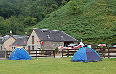 View of the campsite at Beinglas Farm